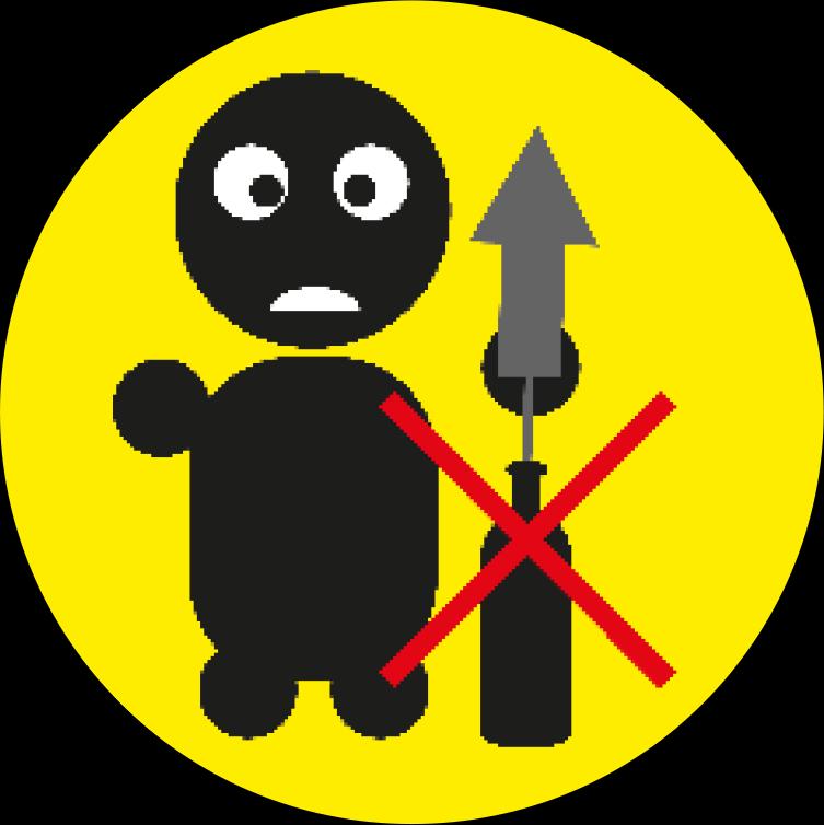 Gebruik geen instabiele objecten om vuurwerk uit te lanceren.